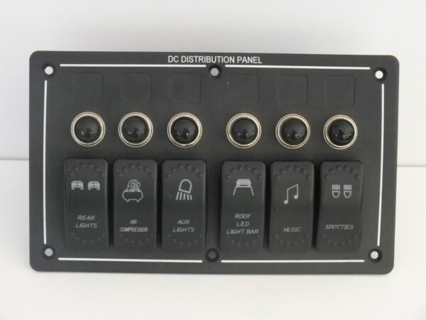 6 Rocker Switch Panel Holder ARB Carling Narva Waterproof Boat Laser Etched