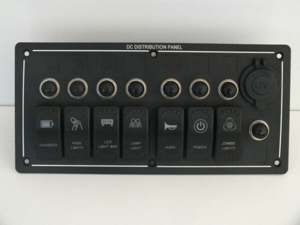 7 Rocker Switch USB Socket Panel Holder ARB Carling Waterproof boat Laser Etched