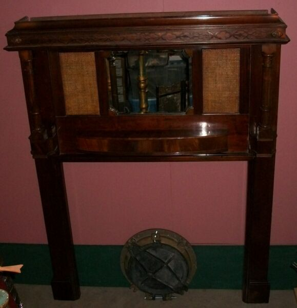 Antique Mahogany Fireplace Mantel & Surround. Vintage late 1800's. Wood. Mirror