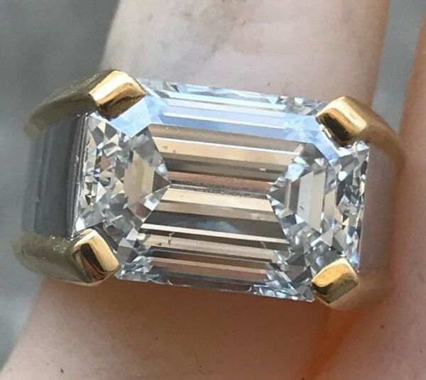 7.20 + Carat Diamond Ring Emerald Cut E Color SI1 Clarity GIA Certified!