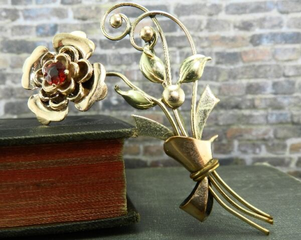 Vintage Harry Iskin 120 10K Rose & Yellow Gold Filled Flower Pin Brooch