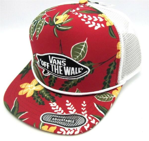 Vans Off The Wall Surf Patch Adjustable Trucker Hat Mens Tropical Red Cap NWT $19.99