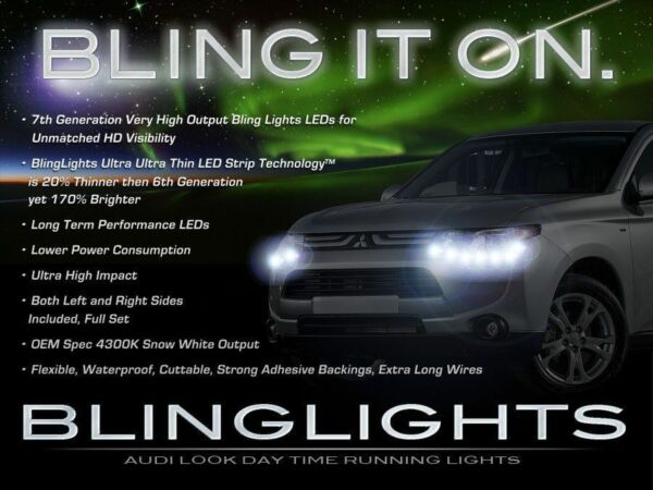 2014 2015 Mitsubishi Outlander LED DRL Head Light Strips Day Time Running Lamps
