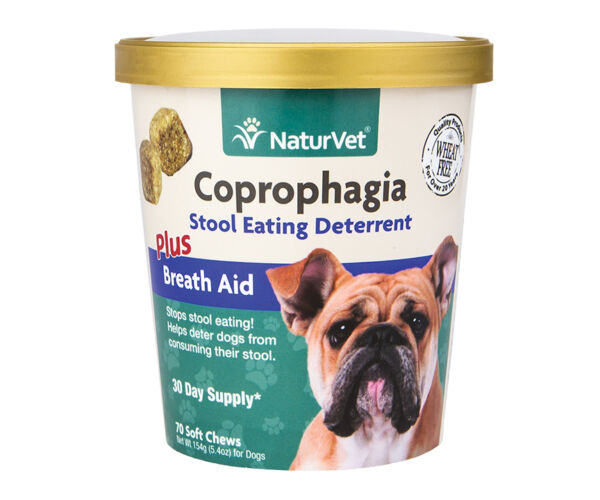 NaturVet Coprophagia PLUS Breath Aid Stop Dog Poop Eating Soft Chew Forbid 70ct