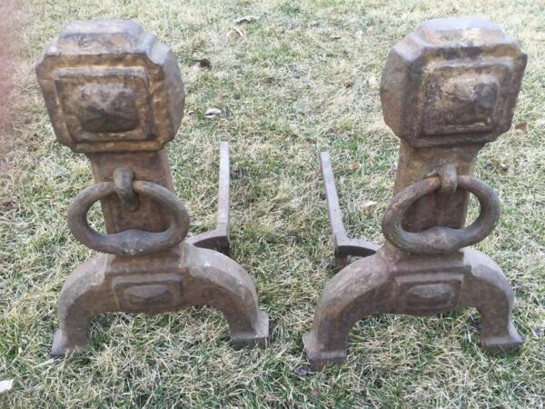 Antique Arts & Crafts Era marked Cahill Pair Hammered FIREPLACE ANDIRONS Set
