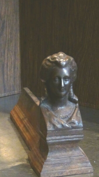 ANTIQUE FRENCH 1820c BRONZE FIGURALWOMAN BUST ANDIRON #2