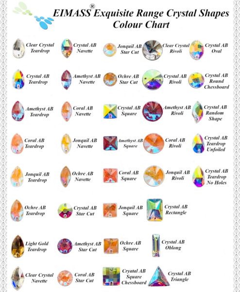 Flat Back Crystal Shapes EIMASS® 8868 Exquisite Sew On Glue On Cut Glass Gems