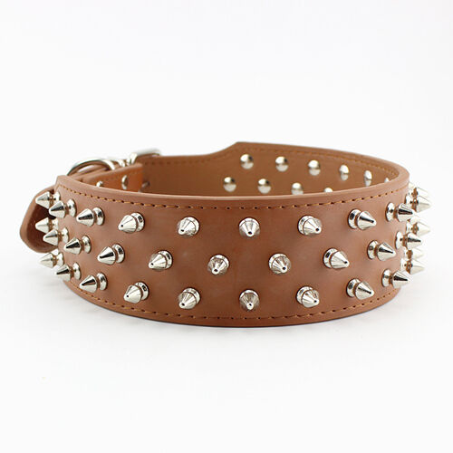 Spiked Large Dog Collar Real Leather Color Red Black Pink Brown Rose $9.90