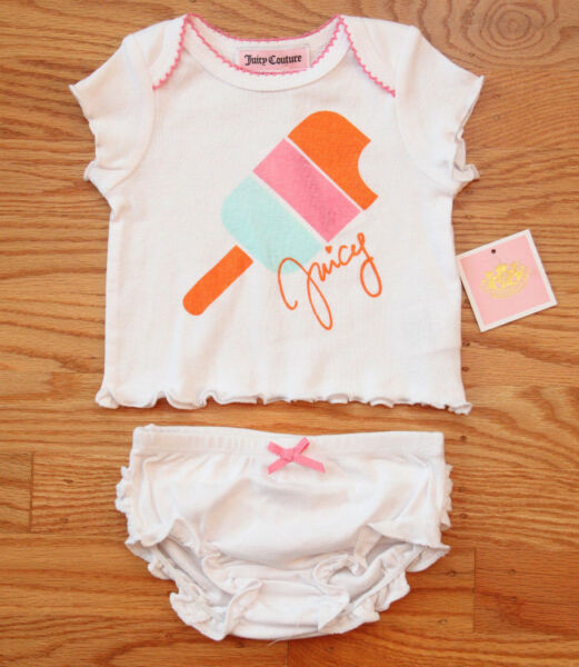 Juicy Couture Baby Girl Diaper Cover Set ~ White, Pink, Orange & Blue ~ Ruffles~