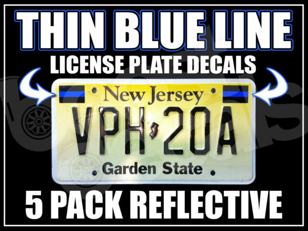 5 PACK THIN BLUE LINE License Plate Decals Stickers Police PBA BLUE LIVES MATTER $6.99