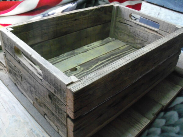 Reclaimed BarnWood Crates Shelf Media Storage CD's DVD Rustic Urban Decor Wooden