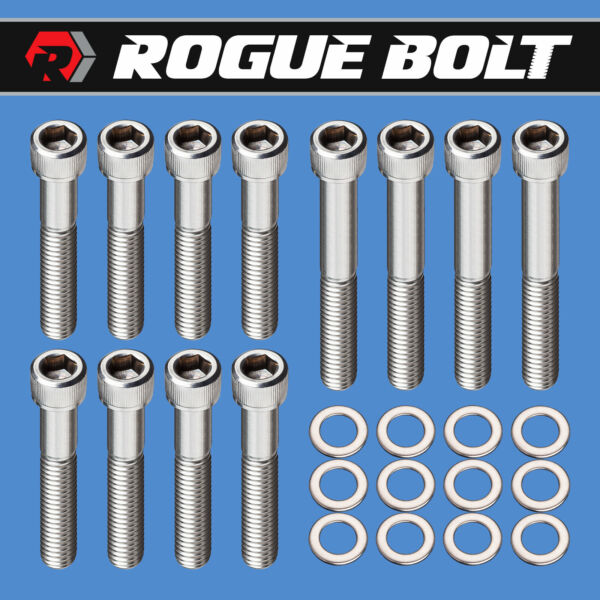 SBC EXHAUST MANIFOLD BOLTS quot;RAM HORNSquot; STAINLESS SMALL BLOCK CHEVY 283 327 350