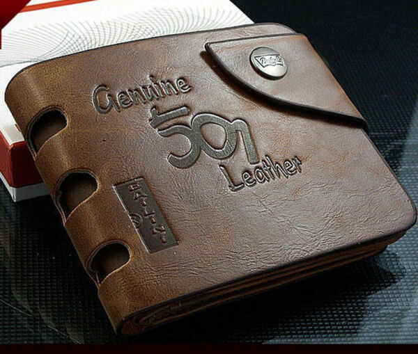 Fashion Mens Genuine Leather Bifold Wallet CreditID Card Holder Slim Coin Purse