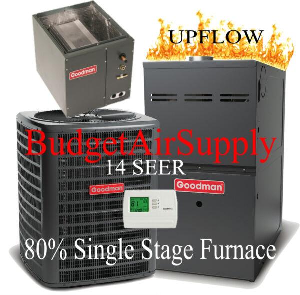 2 Ton Goodman 14 seer 80% 60K btu Single stage UPFLOW Gas Furnace System+Tstat