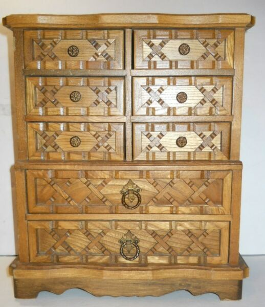 Vintage Mediterranean Carved Wood Jewelry Box Rustic Wrought Iron Nail 8 Drawers