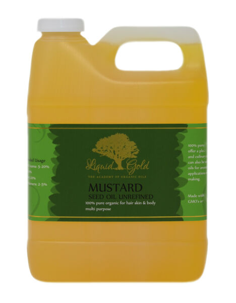32 Oz Liquid Gold Mustard Seed Oil 100% Pure amp; Organic for Skin Hair and Health