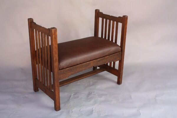 1910 Arts & Crafts Oak Bench Fits Mission Monterey Craftsman Art Nouveau (8430)