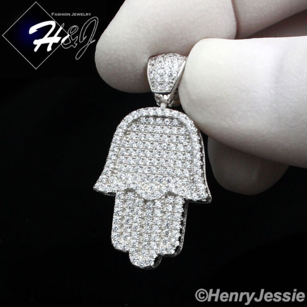 925 STERLING SILVER LAB DIAMOND ICED OUT BLING HAMSA HAND CHARM PENDANT*SP94