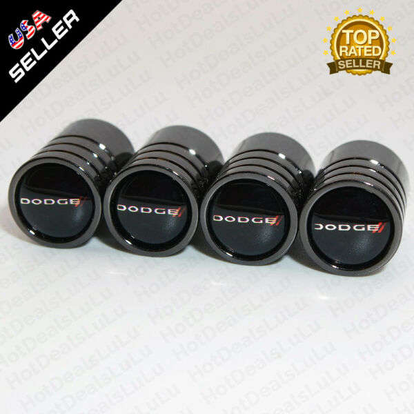 Black Chrome Car Wheel Tire Tyre Air Valve Caps Stem Cover With Dodge Emblem