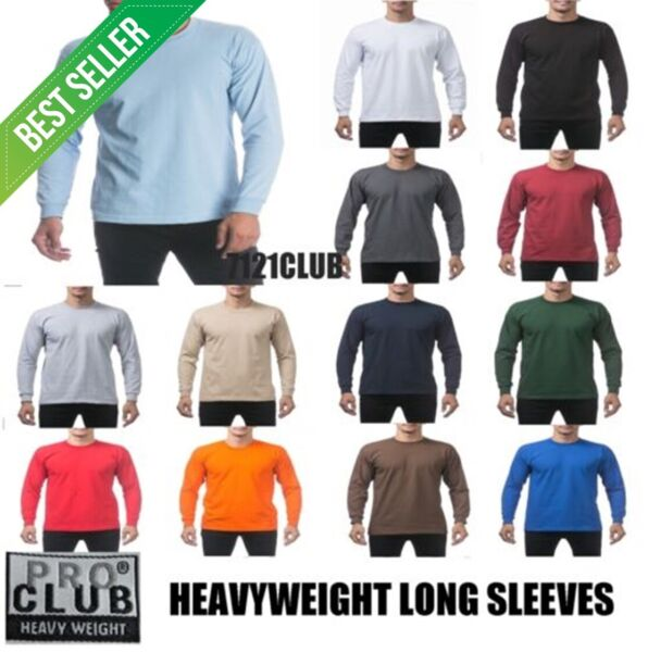 PRO CLUB LONG SLEEVE HEAVYWEIGHT T SHIRTS PROCLUB MEN PLAIN T SHIRT BIG AND TALL