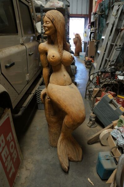 ONE-OF-A-KIND over  4 FT. TALL FANTASTIC WOOD CARVING OF A BEAUTIFUL MERMAID