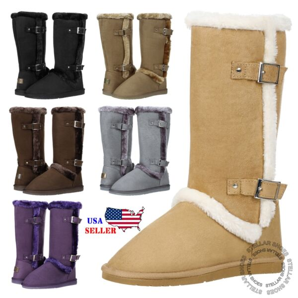 New Women#x27;s Mid Calf Twin Buckle Winter Snow Fur Faux Suede Fashion Boots