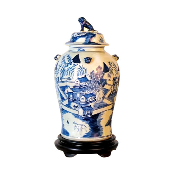 Beautiful Blue and White Porcelain Chinoiserie Blue Willow Temple Jar 19quot; $279.99