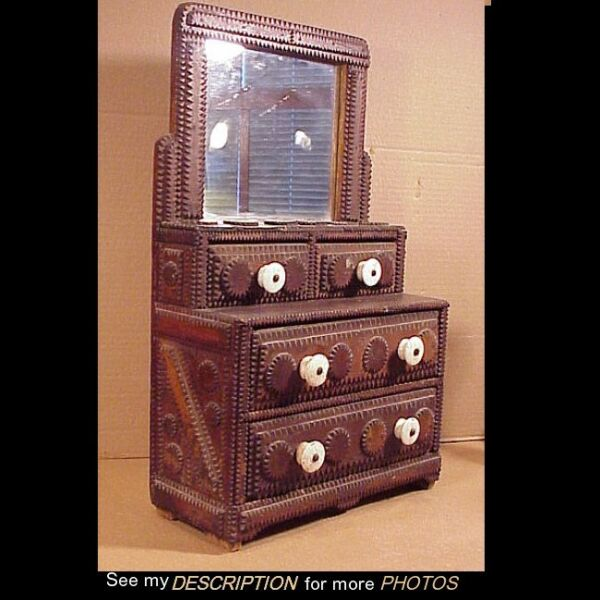 Antique 1870-1900 Hand Carved Tramp Art Mirrored Dresser Box  Chest
