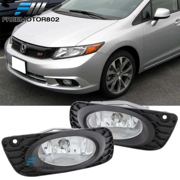 For 2012 Honda Civic 4dr Sedan Clear Bumper Fog Lights & Wiring