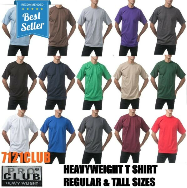 PRO CLUB HEAVYWEIGHT T SHIRTS PROCLUB MENS PLAIN SHORT SLEEVE BIG AND TALL M-7XL $5.00