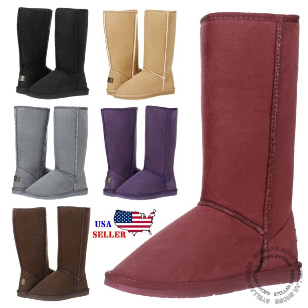 New Women's Mid Calf Classic Tall Winter Snow Fur Suede Skin Boots