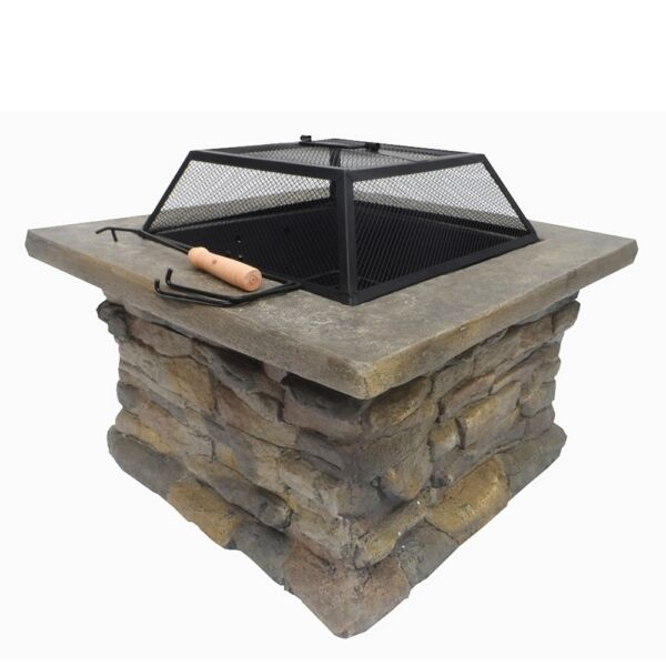 Palm Springs OutdoorPatio Stone CoalWood Burner Fire Pit