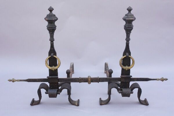 Pair 1920s Iron  Andirons Cross Bar Antique Fireplace Vintage Fire (8884)