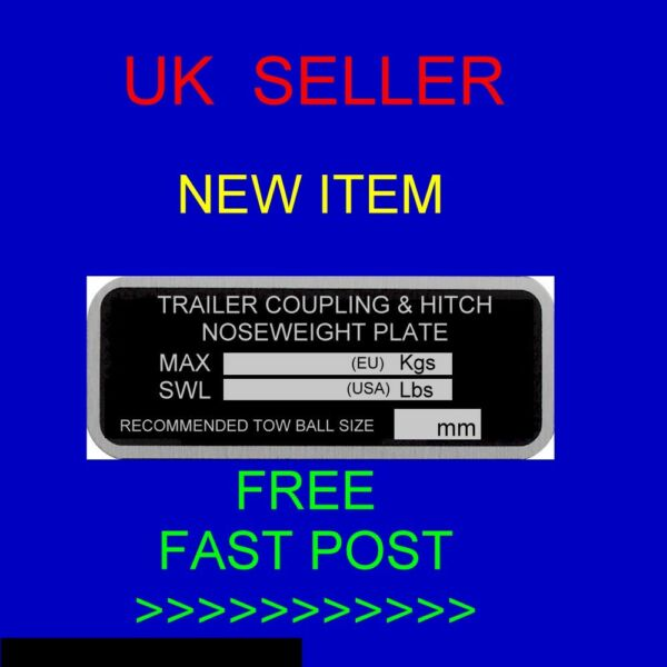 PLANT TRAILER CHASSIS NOSE WEIGHT HITCH KNOTT ALKO COUPLING VIN PLATE ESSENTIALS GBP 9.95