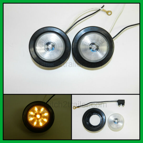 2 CLEAR AMBER 9 LED Light Trailer 2quot; roundw 2 plugGrommet Clearance 2.0quot; $10.99