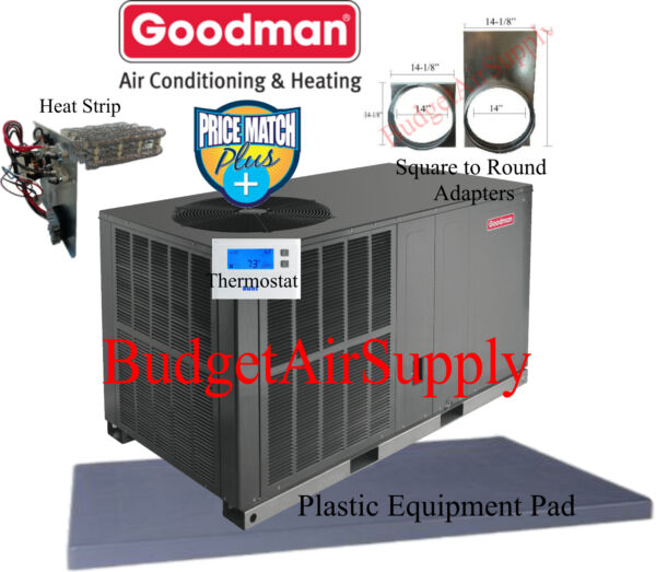 2.5 Ton 14 seer Goodman HEAT PUMP Package Unit GPH1430H41+PAD+Heat+ADAPTER+Tstat