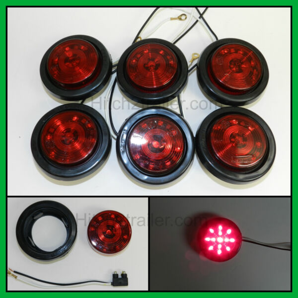 6 RED 13 LED Light Trailer 2 1 2quot; roundw plugGrommet Clearance marker 2.5quot; $39.99