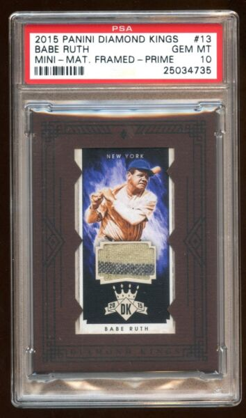 PSA 10 BABE RUTH 2015 PANINI PRIME GAME WORN PATCH JERSEY SWATCH #D 10  POP 1
