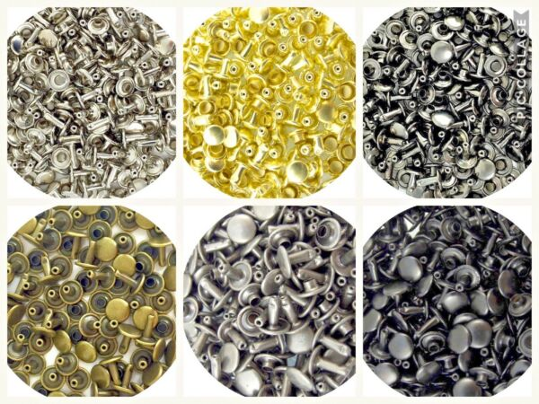 Springfield Leather Co Steel Double Cap Rivets 6 Colors, 5 Sizes, 3 Pack Options