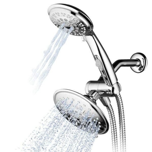 Hydroluxe Multi Setting Chrome Rainfall Shower Head & Handheld Combo Chrome