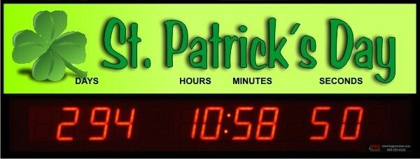 Digital LED Countdown Event Timer - St. Patrick's Day - ETCD100-14