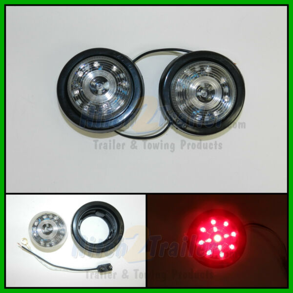 2 CLEAR LENS RED 13 LED Light Trailer 2 1 2quot; roundClearance marker 2.5quot; $13.99