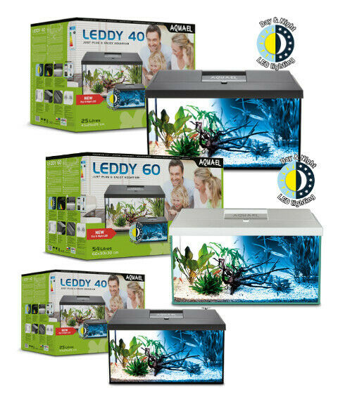 AQUAEL Aquarium Set LEDDY LED komplett inkl. Abdeckung, Filter, Heizer