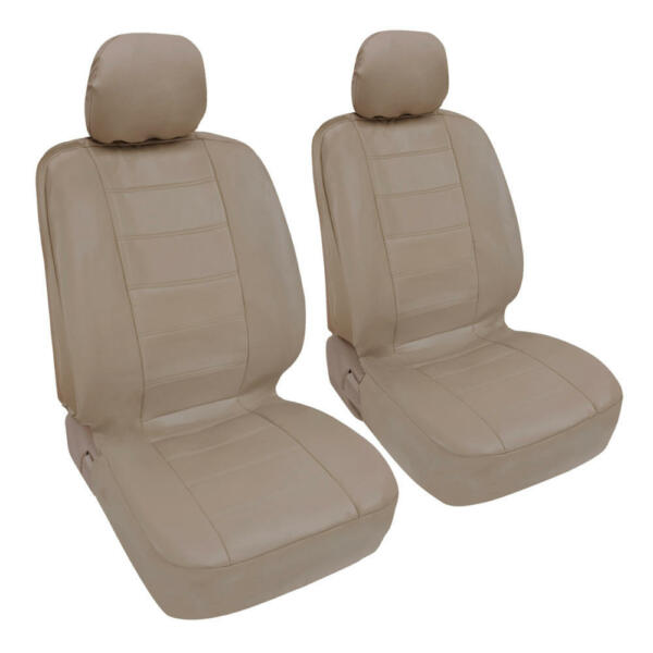 Car Seat Covers Front Pair - Leatherette Synth - Beige Arm Rest Slot Premium PU
