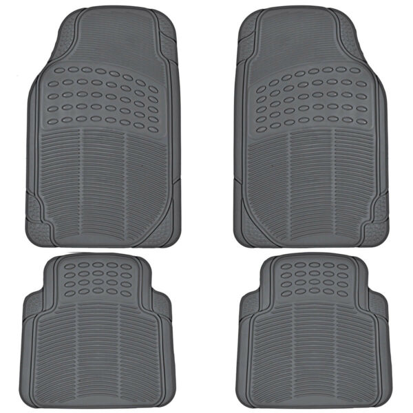All Season Rubber Floor Mats for Car SUV Van Heavy Duty 4 PC Set Gray Trimmable