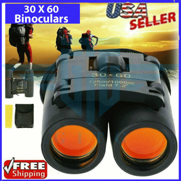 Binoculars 30x60 Zoom Outdoor Travel Compact Folding Telescope Hunting Day Night