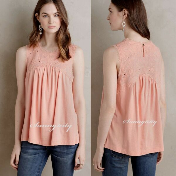 NEW Anthropologie Laia Shell by Meadow Rue sz S Adorable Embroidery Detail LAST1