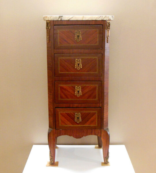 Antique French Four Drawer Cabinet Lingerie Chest w White Marble Top Louis XV