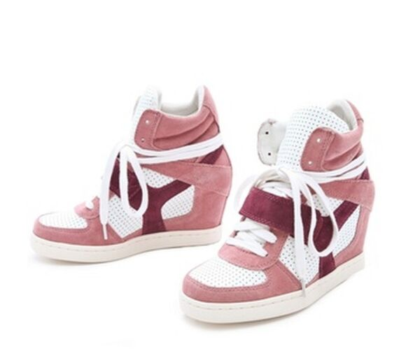New ASH COOL Rose Pink Women's High Top Ankle Wedge Heels Sneaker Boots Shoes
