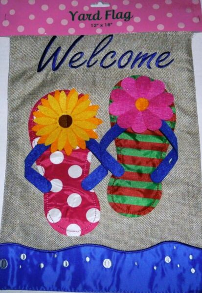 DECORATIVE YARD FLAG 12quot; x 18quot; COLORFUL FLIPFLOPS Burlap Material